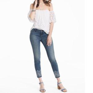 WHBM Embellished Hem Skinny Crop Jeans